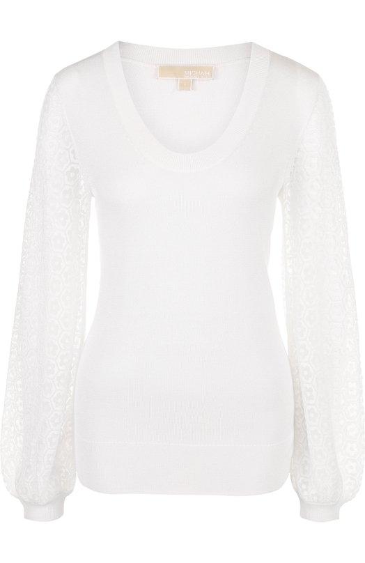Купить Однотонный пуловер с круглым вырезом MICHAEL Michael Kors, MS86NLR8XX, Китай, Белый, Эластан: 8%; Хлопок: 53%; Отделка-вискоза: 47%; Вискоза: 39%; Отделка-хлопок: 34%; Отделка-полиэстер: 19%;