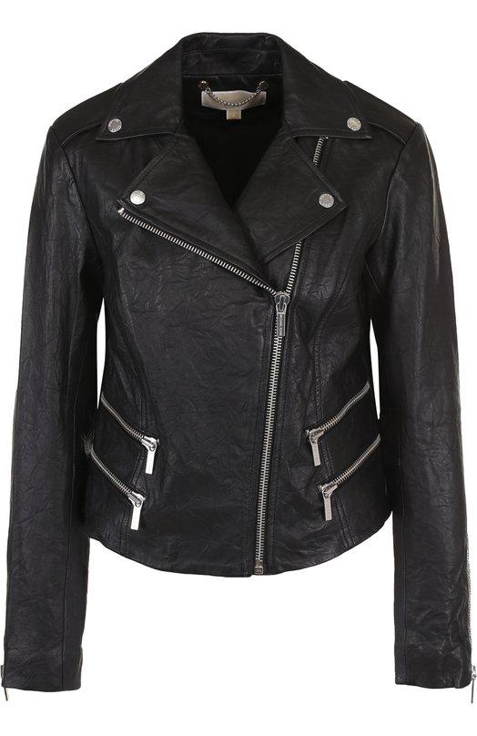 Купить Кожаная куртка с косой молнией MICHAEL Michael Kors, MS81EKV2A3, Индия, Черный, Кожа натуральная: 100%; Подкладка-текстиль: 100%;