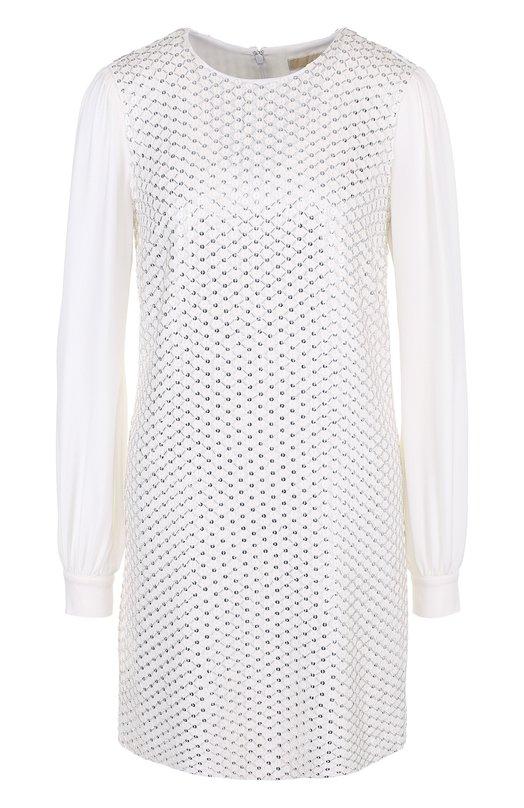 Купить Мини-платье из вискозы с вышивкой бисером MICHAEL Michael Kors, MS88XR28TK, Китай, Белый, Вискоза: 100%; Подкладка-полиэстер: 100%;