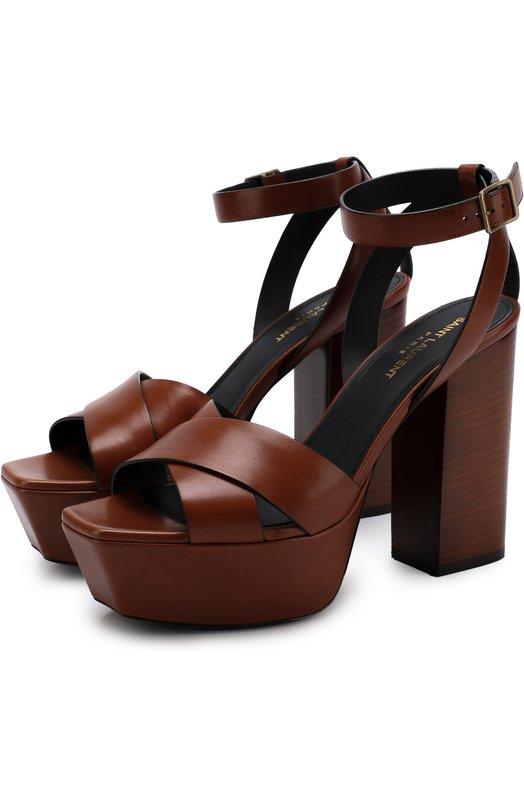 Купить Кожаные босоножки Farrah на устойчивом каблуке и платформе Saint Laurent, 499855/DWE00, Италия, Коричневый, Кожа натуральная: 100%; Стелька-кожа: 100%; Подошва-кожа: 100%;