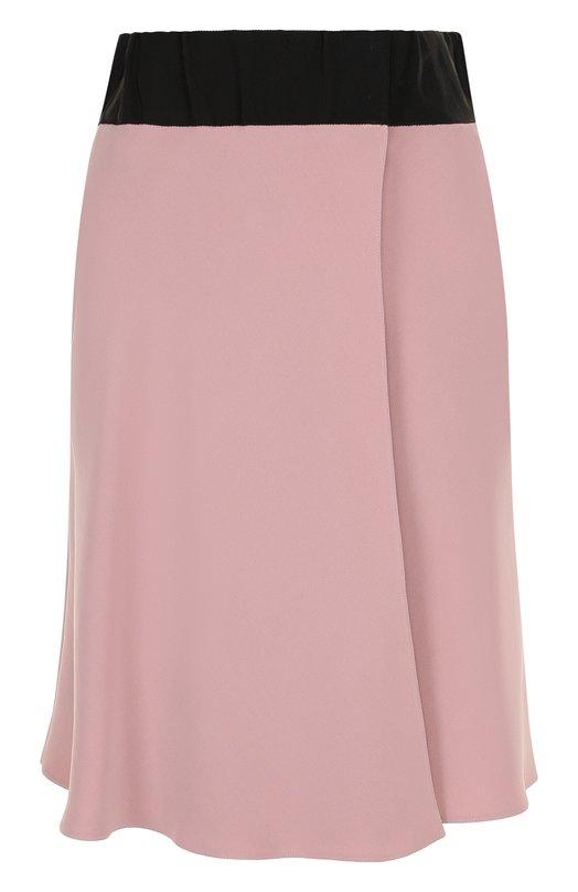 Купить Шелковая мини-юбка с контрастным поясом Giorgio Armani, WAN09T/WA170, Италия, Розовый, Шелк: 100%;