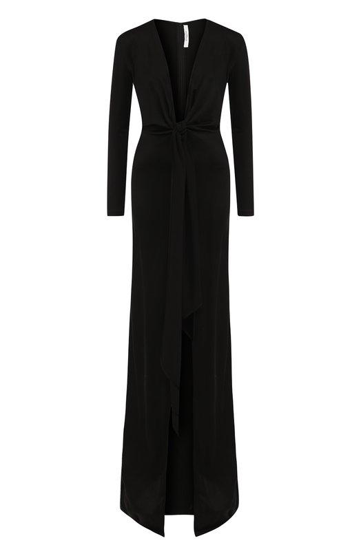 Купить Платье-макси с глубоким V-образным вырезом и бантом Givenchy, BW202Z3047, Италия, Черный, Вискоза: 81%; Полиамид: 19%;