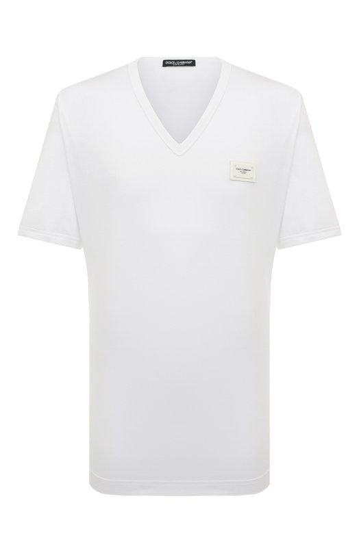 Купить Хлопковая футболка с V-образным вырезом Dolce & Gabbana, G8I03T/FU7EQ, Италия, Белый, Хлопок: 100%;