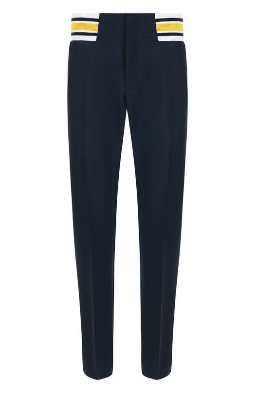 Купить Шерстяные брюки прямого кроя с поясом на резинке Loewe, H2182501PA, Италия, Темно-синий, Мохер: 60%; Шерсть: 40%;