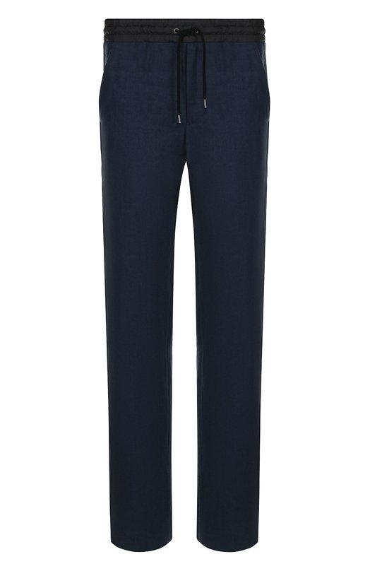 Купить Льняные брюки прямого кроя с поясом на кулиске Giorgio Armani, WSP02W/WS948, Италия, Темно-синий, Лен: 100%;