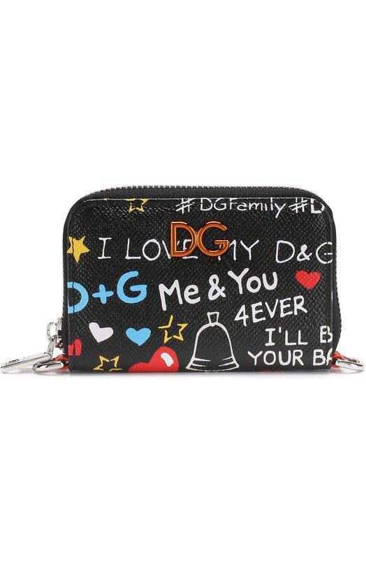Купить Кожаный футляр для кредитных карт на молнии с принтом Dolce & Gabbana, BI2315/AH933, Италия, Черный, Кожа натуральная: 90%; Полиэстер: 10%;