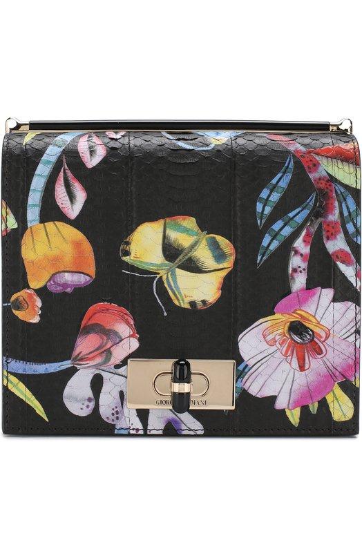 Купить Кожаная сумка с принтом Giorgio Armani, Y1B021/YPL9A, Италия, Черный, Кожа натуральная: 100%;