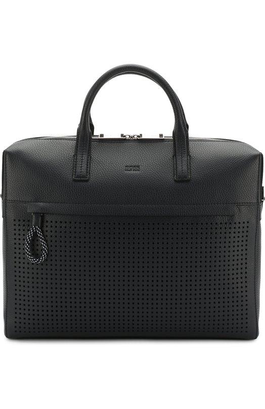 Купить Кожаная сумка для ноутбука с плечевым ремнем BOSS, 50386000, Китай, Темно-синий, Кожа натуральная: 100%;