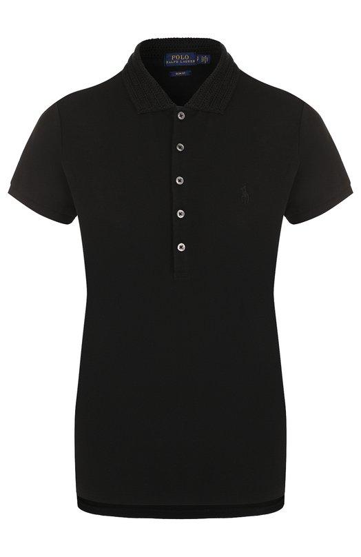 Купить Однотонное хлопковое поло Polo Ralph Lauren, 211697241, Китай, Черный, Хлопок: 97%; Эластан: 3%;