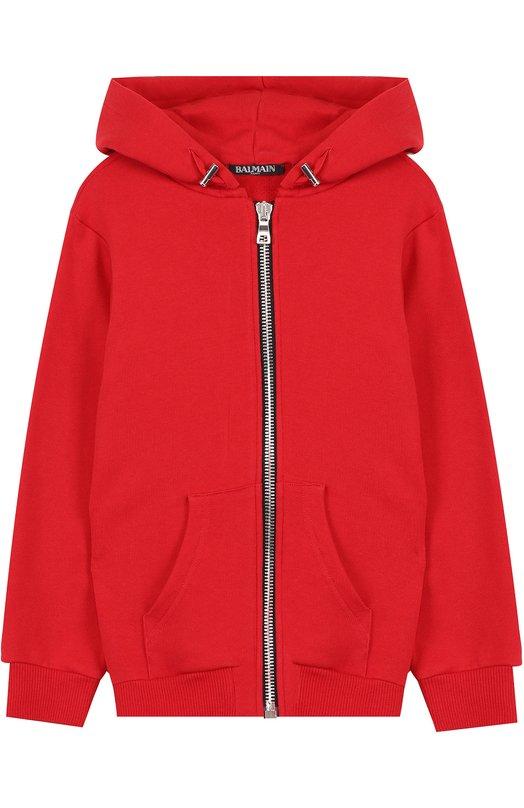 Купить Хлопковый кардиган на молнии с капюшоном Balmain, S8E/8002/J928, Португалия, Красный, Хлопок: 100%;