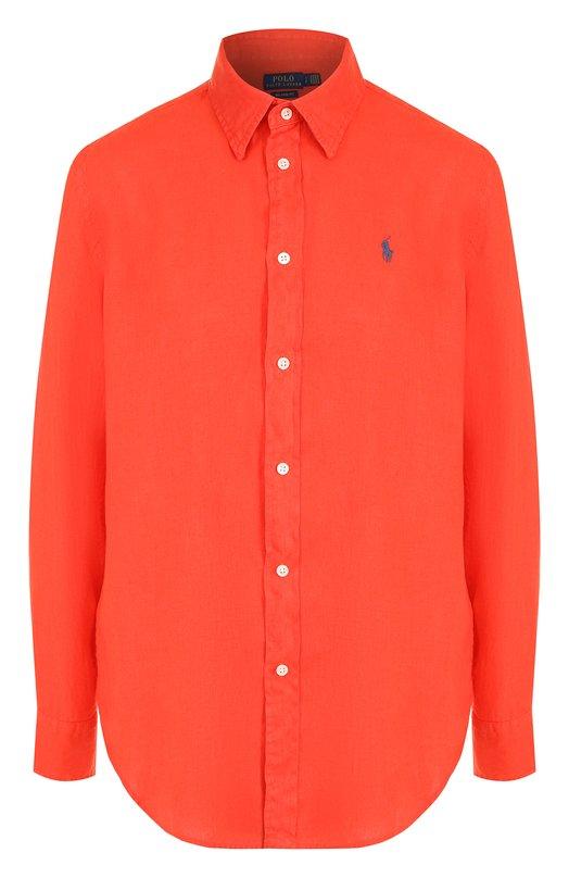 Купить Однотонная льняная блуза свободного кроя Polo Ralph Lauren, 211697460, Филиппины, Красный, Лен: 100%;