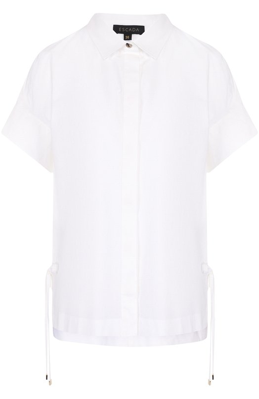 Купить Хлопковая блуза свободного кроя с коротким рукавом Escada, 5026016, Болгария, Белый, Хлопок: 100%;