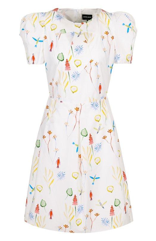 Купить Приталенное мини-платье с принтом Giorgio Armani, WAA08T/WA708, Италия, Белый, Отделка-полиэстер: 79%; Отделка-шелк: 21%; Хлопок: 100%; Подкладка-шелк: 100%;