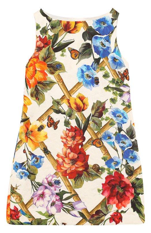 Купить Мини-платье из хлопка и шелка А-силуэта с принтом Dolce & Gabbana, L59D10/HSMP2/2-6, Италия, Разноцветный, Хлопок: 84%; Шелк: 16%; Подкладка-вискоза: 100%;