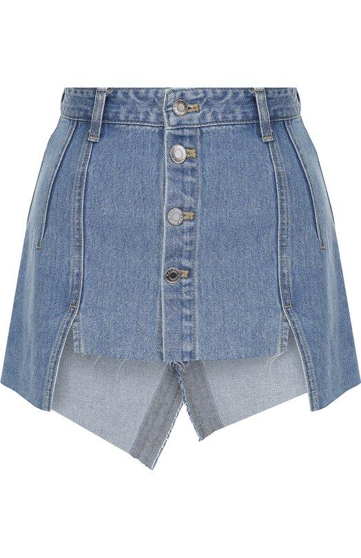 Купить Джинсовая мини-юбка с потертостями Steve J & Yoni P, PWMS2D-S01900, Южная Корея, Синий, Хлопок: 100%;