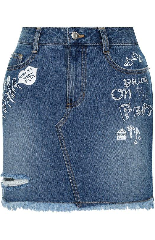 Купить Джинсовая мини-юбка с потертостями Steve J & Yoni P, PWMS2D-S05900, Южная Корея, Синий, Хлопок: 100%;