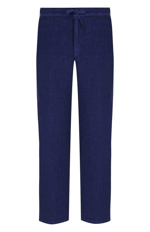 Купить Льняные брюки прямого кроя с поясом на кулиске 120% Lino, N0M2072/0253/001, Болгария, Синий, Лен: 100%;