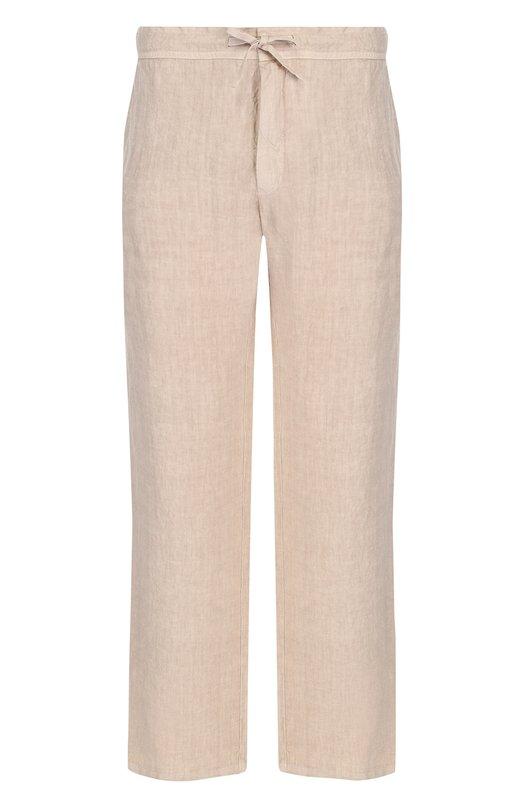 Купить Льняные брюки прямого кроя с поясом на кулиске 120% Lino, N0M2072/0253/001, Болгария, Бежевый, Лен: 100%;