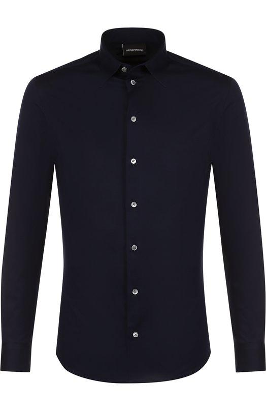 Купить Хлопковая рубашка с воротником кент Emporio Armani, W1SM0L/W14F7, Тунис, Темно-синий, Хлопок: 100%;