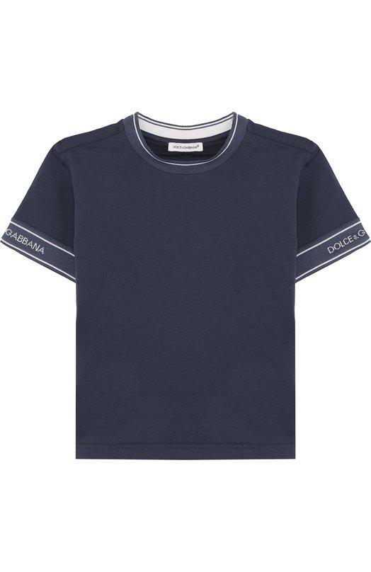 Купить Хлопковая футболка с логотипом бренда Dolce & Gabbana, L4JT6J/G7MIV/2-6, Италия, Синий, Хлопок: 100%;