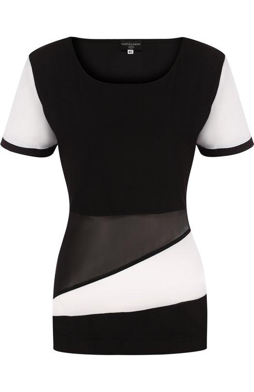 Купить Приталенная футболка с круглым вырезом NATAYAKIM, NY-036/17, Италия, Черно-белый, Полиамид: 59%; Эластан: 41%;