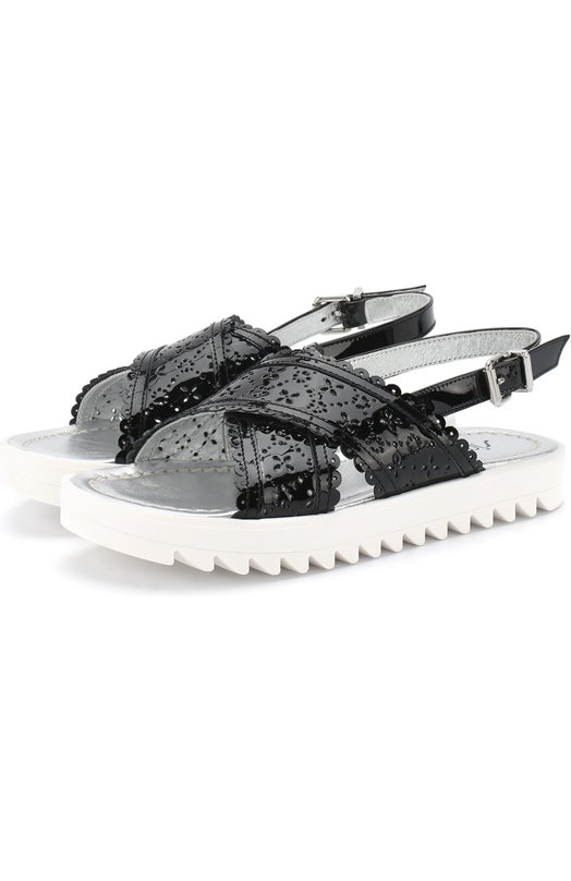 Лаковые сандалии на ремешке с перфорацией Simonetta