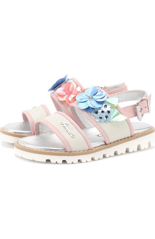 Кожаные сандалии на ремешке с цветочным декором Simonetta