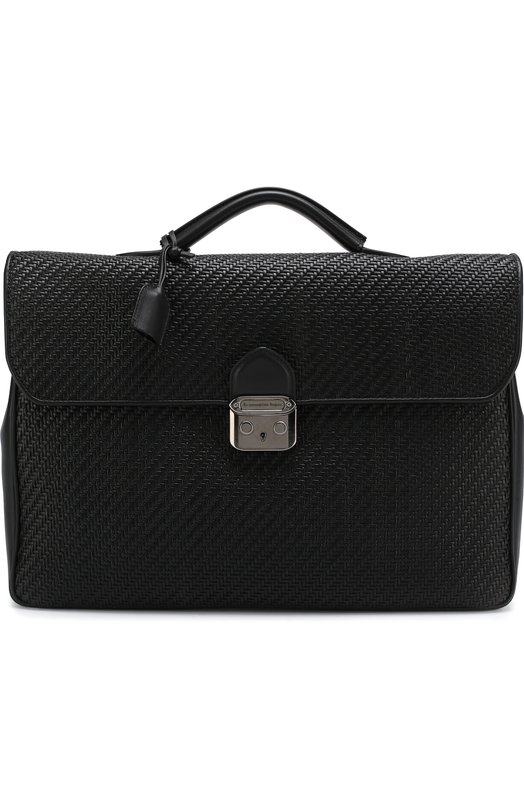 Купить Кожаный портфель с плечевым ремнем Ermenegildo Zegna, C1333P-PTA, Италия, Черный, Кожа натуральная: 100%;