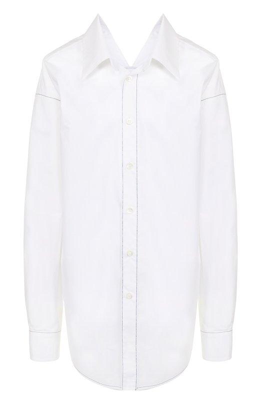 Купить Однотонная хлопковая блуза свободного кроя Marni, CAMAW37A00/TCV60, Португалия, Белый, Хлопок: 100%;