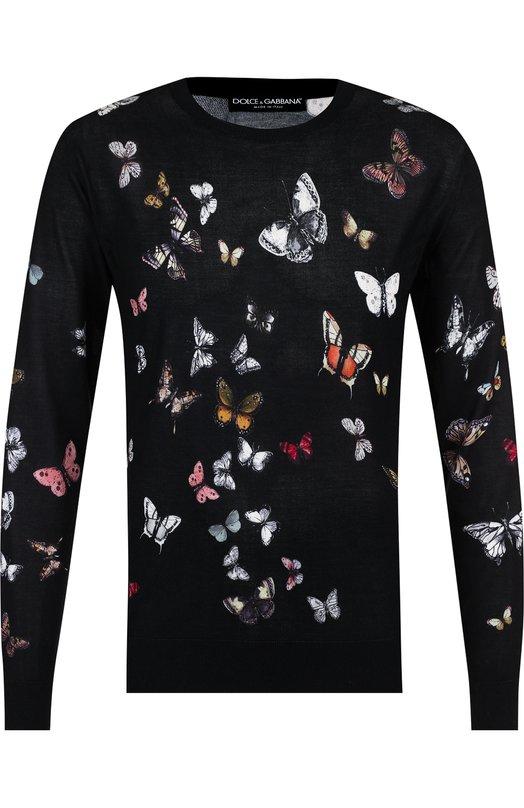 Купить Шелковый джемпер с принтом Dolce & Gabbana, GX072T/JAHAD, Италия, Черный, Шелк: 100%;