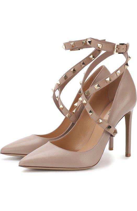 Кожаные туфли Valentino Garavani Studwrap на шпильке Valentino Valentino