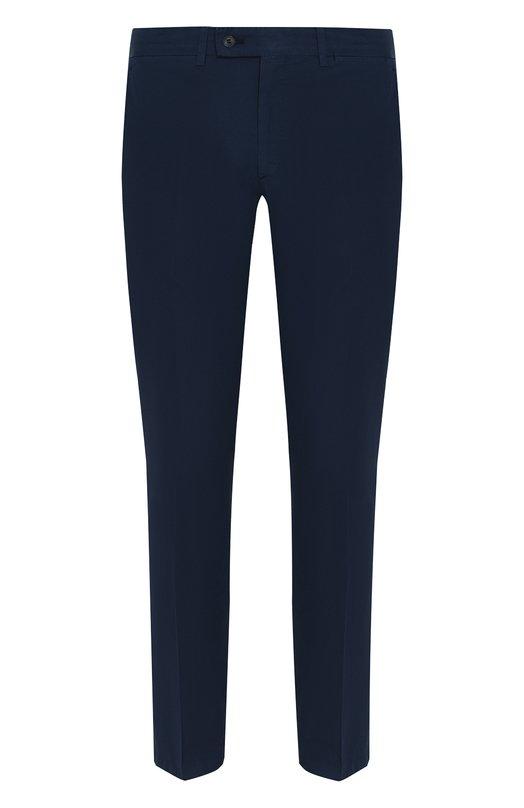 Купить Хлопковые брюки прямого кроя Brioni, RPPJ0L/P4T02/TIGNES, Италия, Темно-синий, Хлопок: 100%;