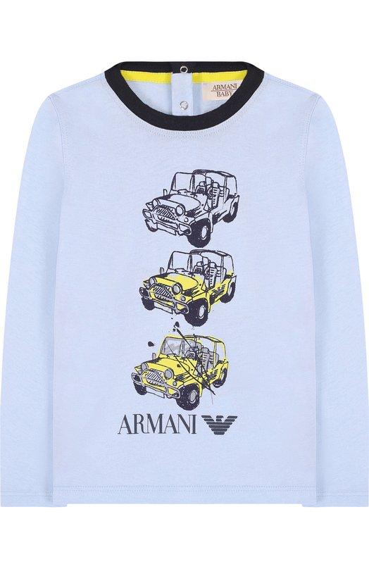 Купить Хлопковый лонгслив с принтом Armani Junior, 3ZHT06/4J09Z, Тунис, Голубой, Хлопок: 100%;