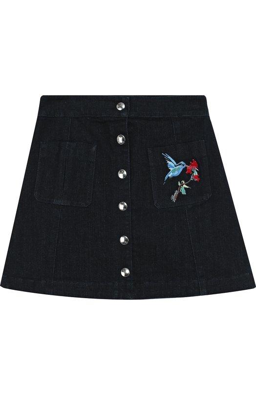 Джинсовая юбка А-силуэта с вышивкой Lanvin