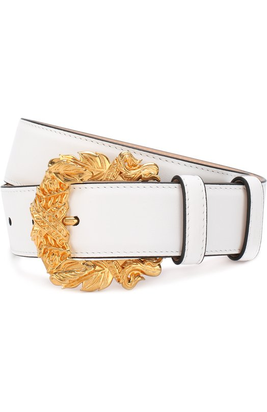 Купить Кожаный ремень с фигурной пряжкой Versace, DCDG338/DV3T, Италия, Белый, Кожа натуральная: 100%; Пряжка-мет.сплав: 100%;