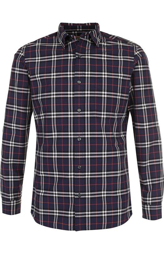Купить Хлопковая рубашка в клетку Burberry, 4061812, Таиланд, Темно-синий, Хлопок: 100%;