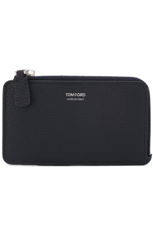 Купить Кожаный футляр для кредитных карт с отделением для монет Tom Ford, Y0238P-C95, Италия, Темно-синий, Кожа натуральная: 100%;