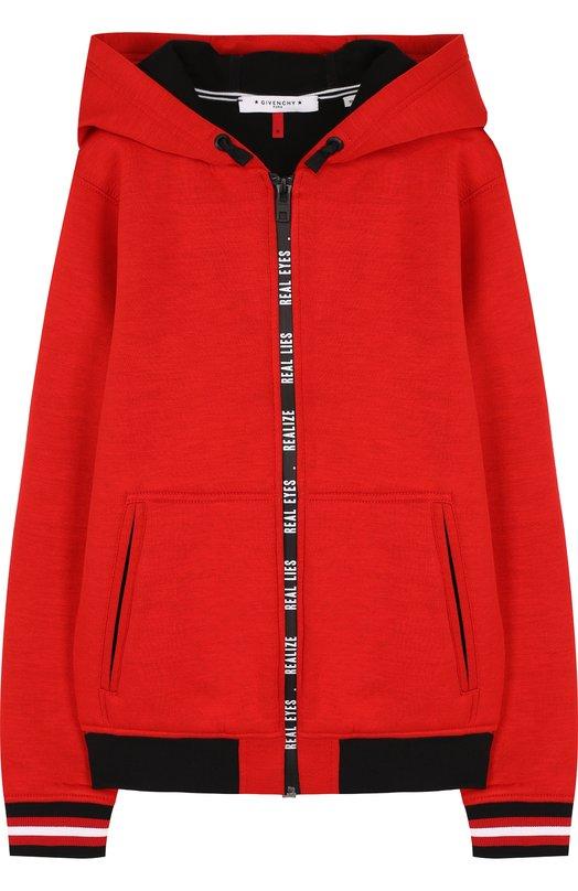 Купить Кардиган на молнии с капюшоном Givenchy, H25044, Тунис, Красный, Вискоза: 87%; Полиуретан: 13%;