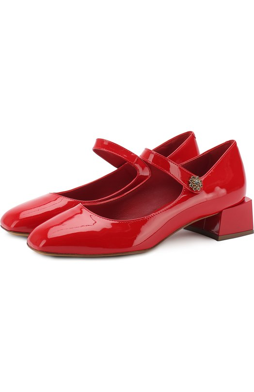 Лаковые туфли с фигурным каблуком и перемычкой Dolce & Gabbana