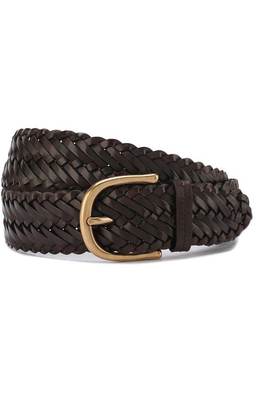 Купить Плетеный кожаный ремень с металлической пряжкой Tom Ford, TB212M-IC7, Италия, Темно-коричневый, Кожа натуральная: 100%; Пряжка-мет.сплав: 100%;