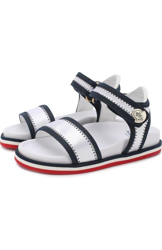 Текстильные сандалии с застежками велькро Moncler Enfant