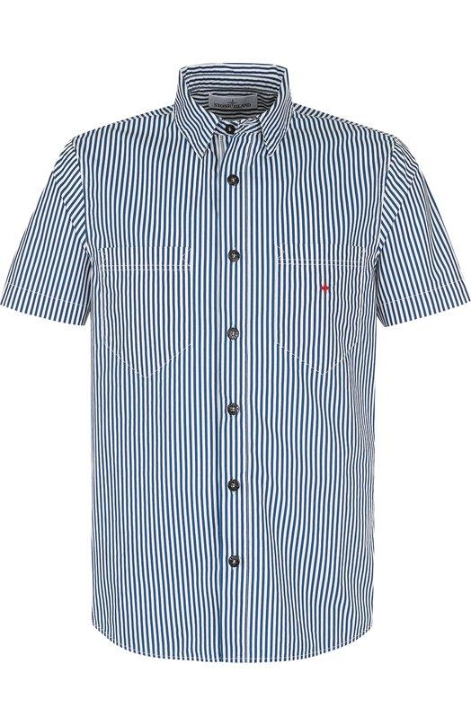 Купить Хлопковая рубашка с короткими рукавами Stone Island, 6815126X4, Тунис, Темно-синий, Хлопок: 100%;