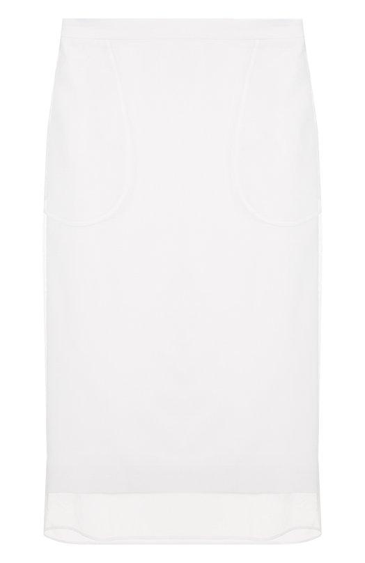 Купить Однотонная юбка-миди из смеси вискозы и эластана Givenchy, BW4009103C, Италия, Белый, Вискоза: 95%; Подкладка-ацетат: 71%; Эластан: 5%; Подкладка-шелк: 29%; Полиамид: 100%;