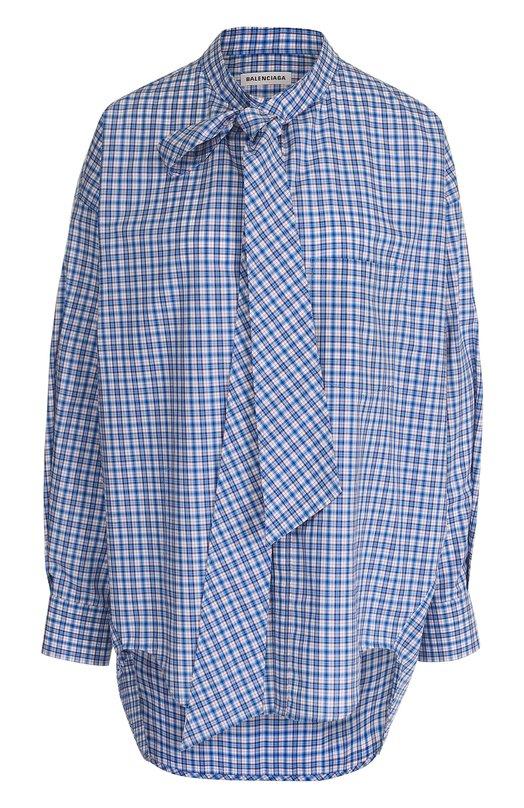 Купить Хлопковая блуза свободного кроя с воротником аскот Balenciaga, 520497/TAM12, Италия, Синий, Хлопок: 100%;