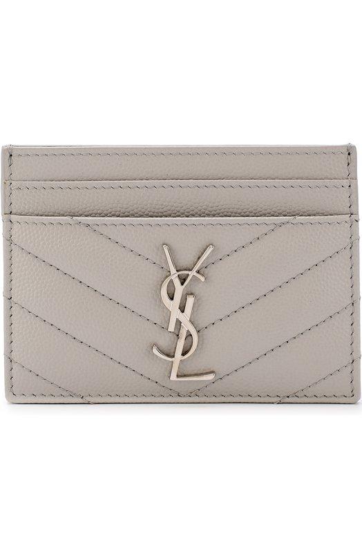 Купить Кожаный футляр для кредитных карт с логотипом бренда Saint Laurent, 423291/B0W02, Италия, Светло-серый, Кожа натуральная: 100%;