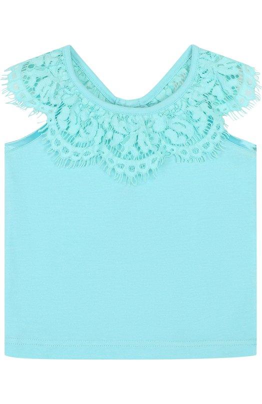 Купить Топ джерси с кружевной отделкой и открытыми плечами Angel's Face, LUCILLE/8-9, Китай, Голубой, Хлопок: 50%; Модал: 50%;