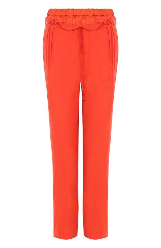 Купить Укороченные шелковые брюки с эластичным поясом Roberto Cavalli, GQT202/GG001, Италия, Оранжевый, Подкладка-шелк: 100%; Шелк: 100%;