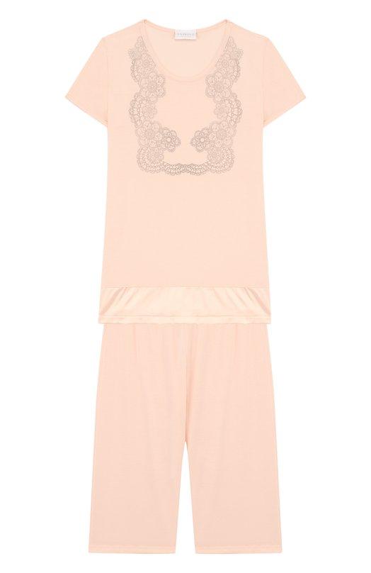 Купить Пижама из вискозы с принтом La Perla, 51871/8A-14A, Италия, Розовый, Вискоза: 90%; Эластан: 10%;