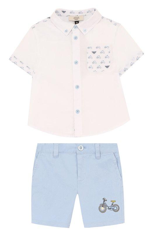 Купить Хлопковый комплект из рубашки и шорт Armani Junior, 3ZHV05/4NFVZ, Китай, Голубой, Хлопок: 97%; Эластан: 3%;