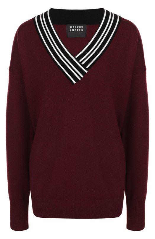 Купить Шерстяной пуловер свободного кроя с V-образным вырезом Markus Lupfer, KN2265, Китай, Бордовый, Шерсть: 100%;